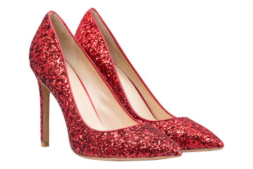 women  red shoes with glitter
