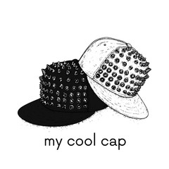 Stylish cap with spikes. Vector illustration for a postcard or a poster. Clothes and accessories. Fashion & Style.