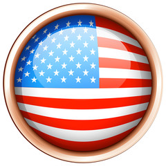Round badge design for flag of America