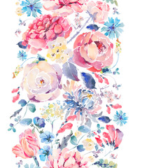 Watercolor seamless vertical border with chrysanthemums, roses