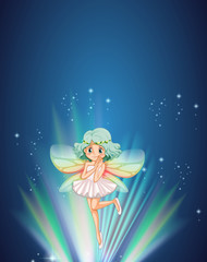 Cute fairy flying at night