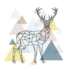 Abstract polygonal deer. Geometric hipster illustration. Reindeer with side view. Scandinavian style.
