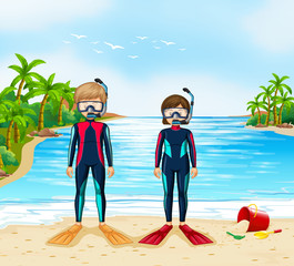 Two scuba divers in wetsuit standing on beach