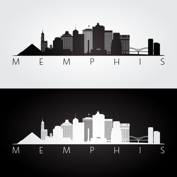 Memphis, USA skyline and landmarks silhouette, black and white design.