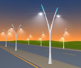 Street lights shining at dawn on the motorway - 3d illustration