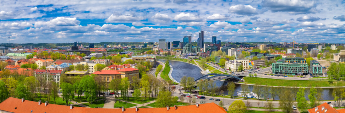 Panoramic view of Vilnius old town cityscape and river. Lithuania.