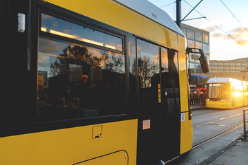 Yellow tram on the streets of Berlin