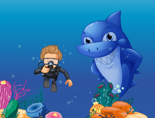 Scuba diver and shark underwater