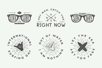 Set of vintage surfing logos, posters, prints, slogans in retro style. Vector Illustration