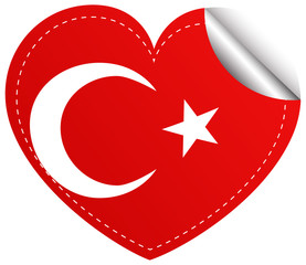 Sticker design for Turkey flag in heart shape