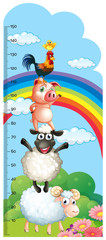 Height measurement chart with farm animals in background