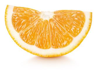 Ripe wedge of orange citrus fruit isolated on white background. Orange slice with clipping path