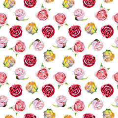 Watercolor seamless pattern with roses for valentines day, wedding or invitations, hand drawn style illustration.