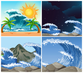 Ocean scenes with big waves day and night