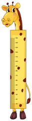 Height measurement chart with giraffe character