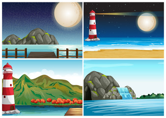 Four scenes with lighthouse and ocean