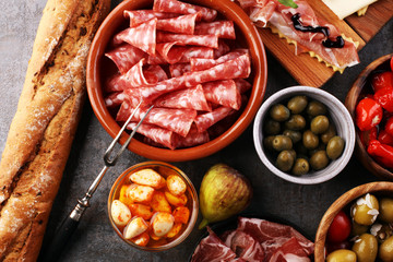 spanish tapas and sangria on wooden table - mediterran antipasti