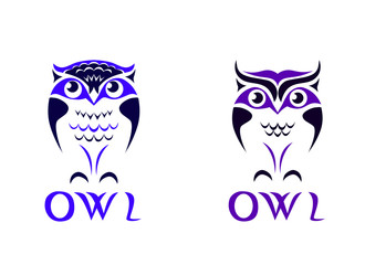Funny owl logo isolated on white background