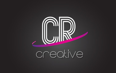 CR C R Letter Logo with Lines Design And Purple Swoosh.