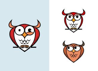 Funny owl logo isolated on white background