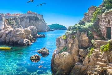 Adriatic sea bay Dubrovnik. / Marble hidden bay in old city center of famous town Dubrovnik, scenery of Game of Thrones, Croatia Europe travel resorts.