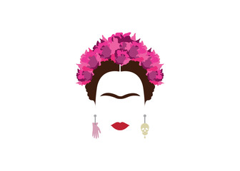 portrait of Mexican or Spanish woman minimalist Frida with skulls and flowers , vector isolated