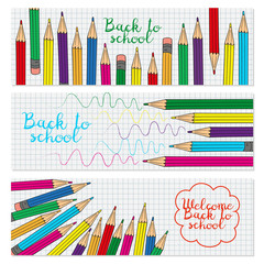 Set of three horizontal banners with multicolored pencils.