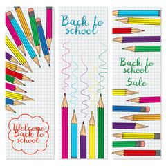 Set of three vertical banners with multicolored pencils.