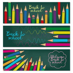 Set of three horizontal banners with multicolored pencils. Doodle back to school background.