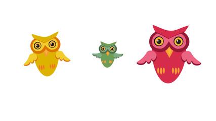 Three owls. Cute birds in cartoon style with flat design.