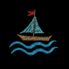 Boat embroidery stitches imitation isolated on the black background