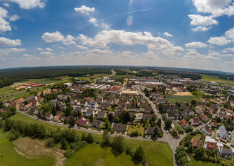 Aerial photo of the village Tennenlohe near the city of Erlangen, Germany