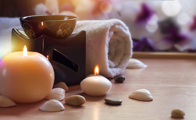 Aroma Lamp With Burning Candle. Aromatherapy. Spa Room