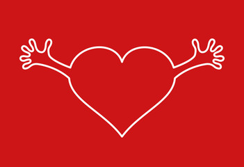 Heart with hands icon on red background.