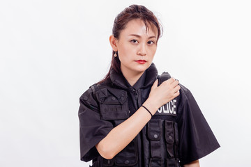 Chinese female police officer on radio