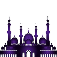 Vector illustration of mosque in flat style isolated on white background for islamic Eid al-Fitr celebration. Can be used for design your website or publications and other.