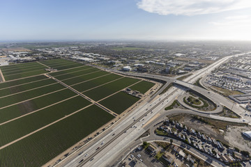 Aerial view of the Ventura 101 Freeway near Rice Ave in Oxnard, California.