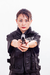 Chinese woman police officer pointing pistol