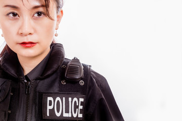 Chinese female police officer, close-up