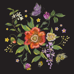 Embroidery colorful trend floral pattern with poppy, lilac and butterfly. Vector traditional folk flowers bouquet on black background for design.