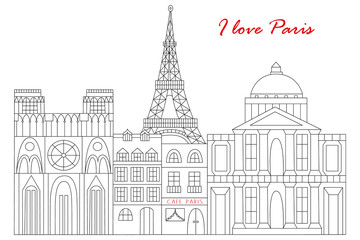 Paris drawn in line style