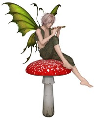 Fairy  Boy Sitting on a Toadstool and Playing a Wooden flute - fantasy illustration