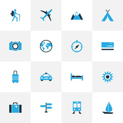 Exploration Colorful Icons Set. Collection Of Earth, Bank Card, Bed And Other Elements. Also Includes Symbols Such As Navigation, Compass, Subway.