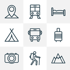 Traveling Outline Icons Set. Collection Of Auto, Suitcase, Canopy And Other Elements. Also Includes Symbols Such As Car, Photo, Pin.