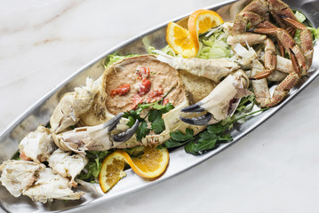 gourmet fresh whole crab with seafood cream mousse meal