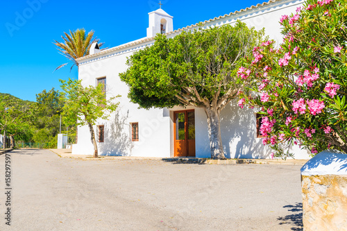 White typical church in Sant Vicent de sa Cala village in