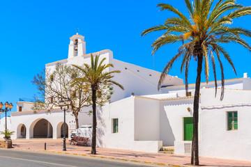Typical white style church in Sant Josep de sa Talaia town on Ibiza island, Spain