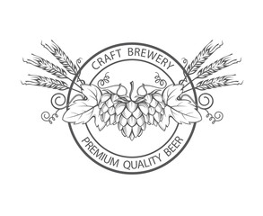 black stamp with hops and barley ear for brewing