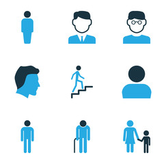 Person Colorful Icons Set. Collection Of Personal Data, Client, Clever And Other Elements. Also Includes Symbols Such As Customer, Walk, Human.