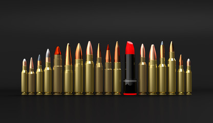 Rifle lipstick ammunition 3d illustration